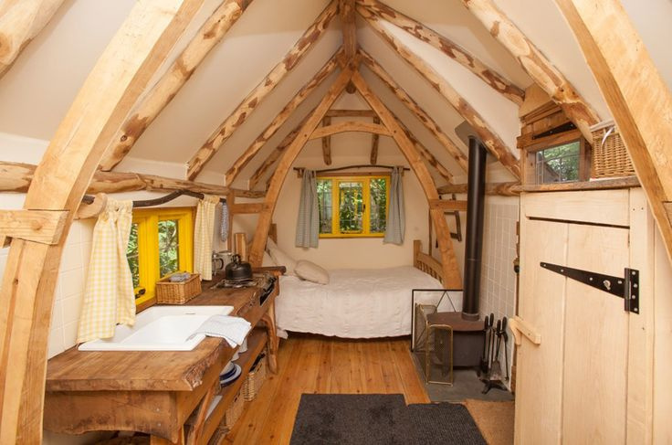 A tiny cottage on wheels in East Sussex, England at Swallowtail Hill