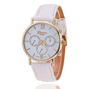 TRENDY WHITE LEATHER WATCH