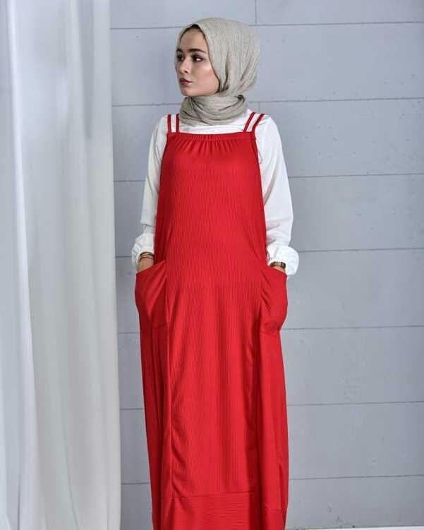 67ea5d6f05494 149 - Kaşkorse Slopet Kombin - Kırmızı Ürün Kodu | Tesettür Elbise