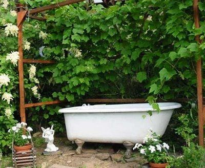 So, um yeah...I will be needing someone's old bathtub soon!  Anyone??  Must be a claw-foot tub like this...for my garden baths, oh the bliss!