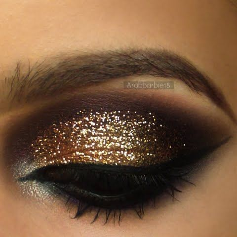 Gold Glitter with Deep Purple - dramatic evening/ south asian bridal makeup inspiration