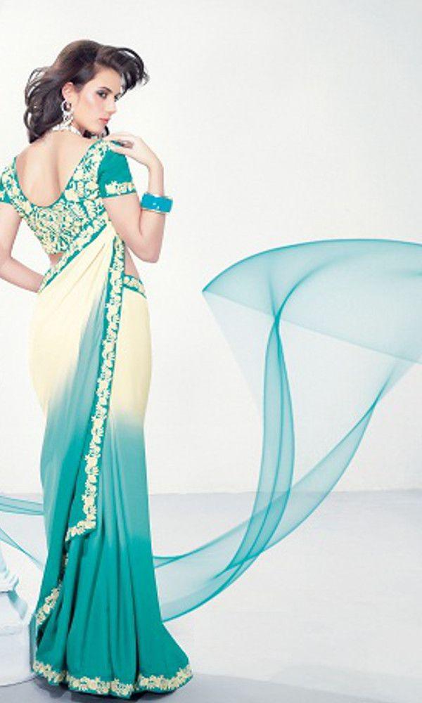 Palkhi Inc - Turquoise Poly Chiffon Saree (S0192), $88.00 (http://www.palkhi.com/sarees/turquoise-poly-chiffon-saree-s0192/)