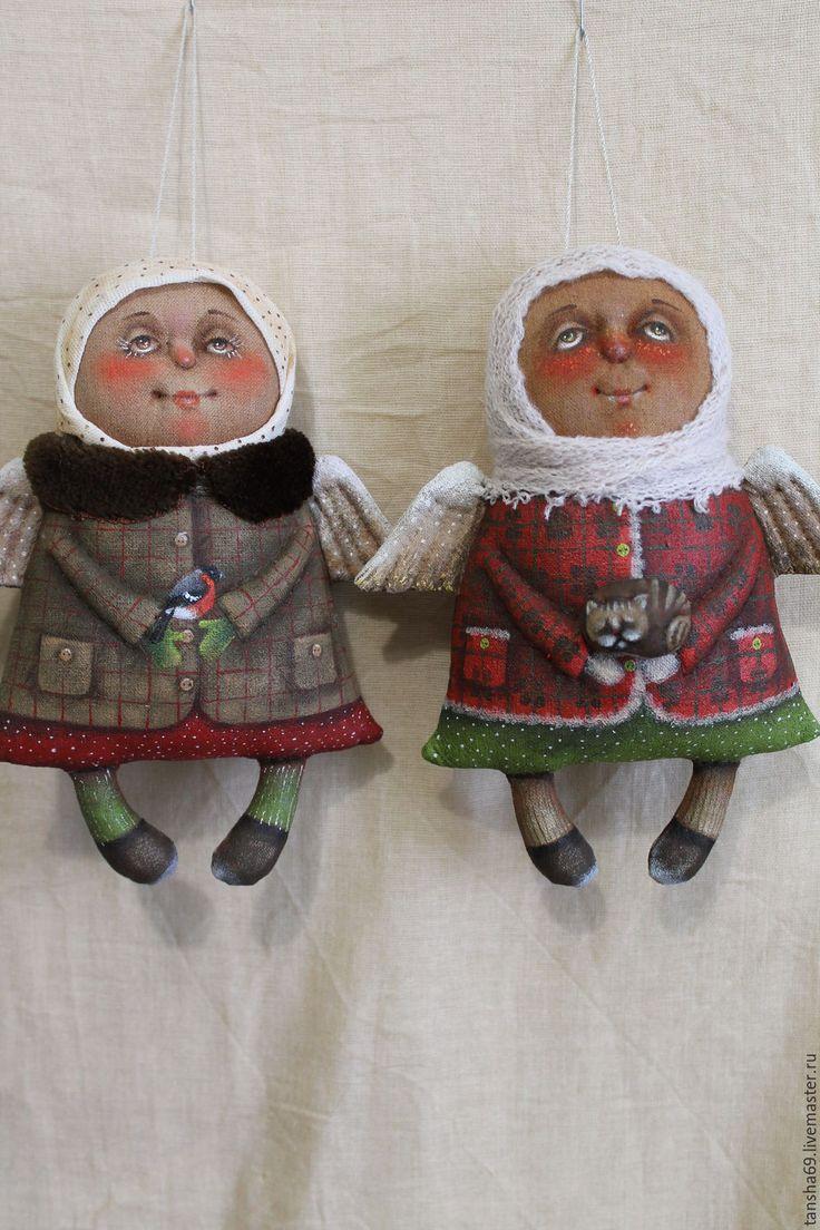 Купить Ангелы - комбинированный, текстильная кукла, ароматизированная кукла, ангелочек, сувениры ручной работы, ткань