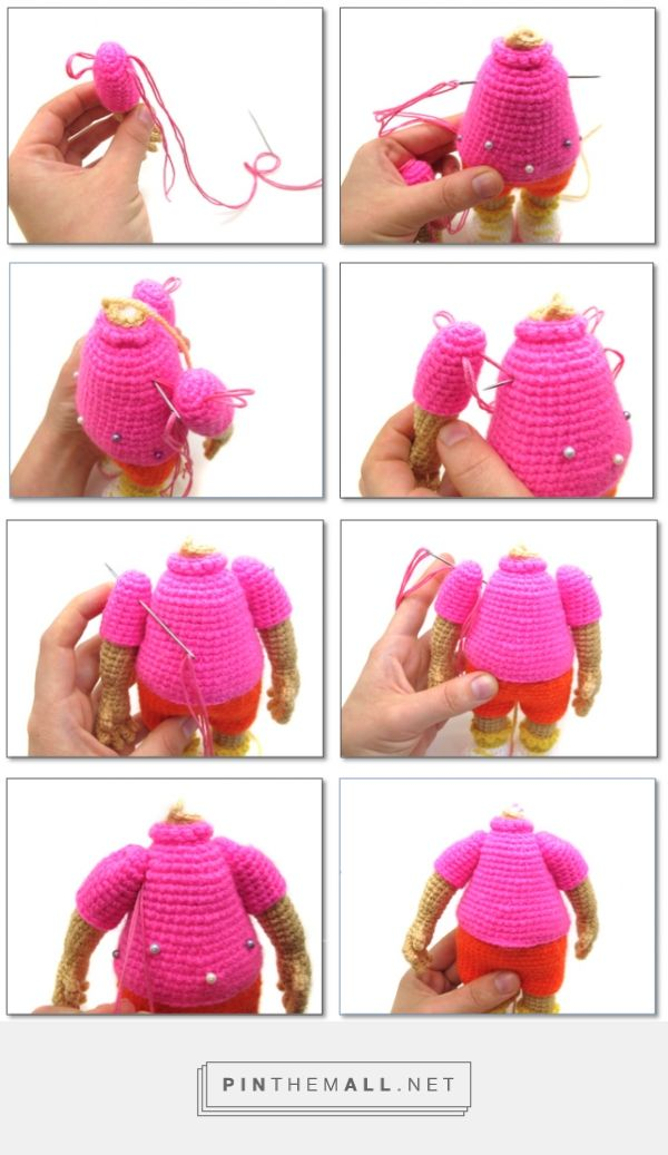 Amigurumi tutorial. How to sew arms to a crocheted toy and make them movable. When they live their own lives... DIY - created via http://pinthemall.net