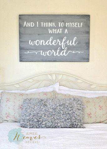 """What a wonderful world"" Wood Sign {customizable} - Aimee Weaver Designs"