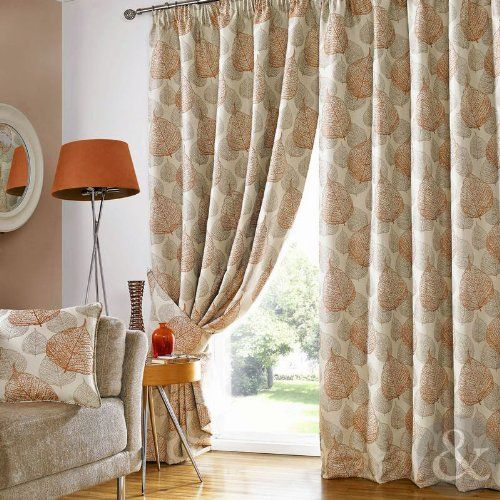 "IVES TERRACOTTA LEAF CURTAINS Heavy Fully Lined Ready Made Pencil Pleat Curtain Cream Orange Brown Curtain Pair 90"" x 54"" ( 229 x 137 cm ) Just Contempo http://www.amazon.co.uk/dp/B00IK050GG/ref=cm_sw_r_pi_dp_nkTPvb1DNMHCD"