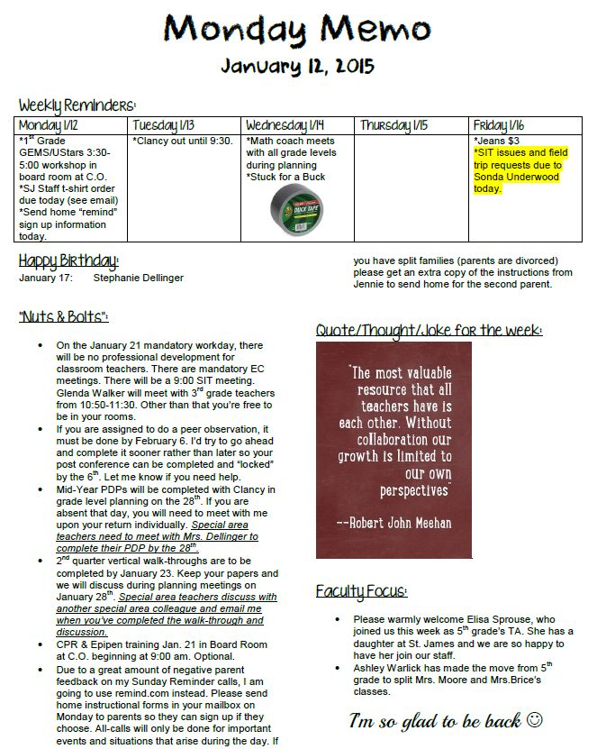 principal for a week High-scoring principals frequently observed classroom instruction for short periods of time, making 20 to 60 observations a week, and most of the observations were spontaneous their visits enabled them to make formative observations that were clearly about learning and professional growth, coupled with direct and immediate feedback.