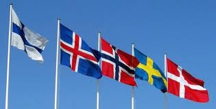 The flags are of (in order): Finland, Iceland, Norway, Sweden, and Denmark