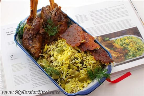 Baghali Polow with lamb shanks( saffron dissolved in rose water is added to the rice, in this recipe)