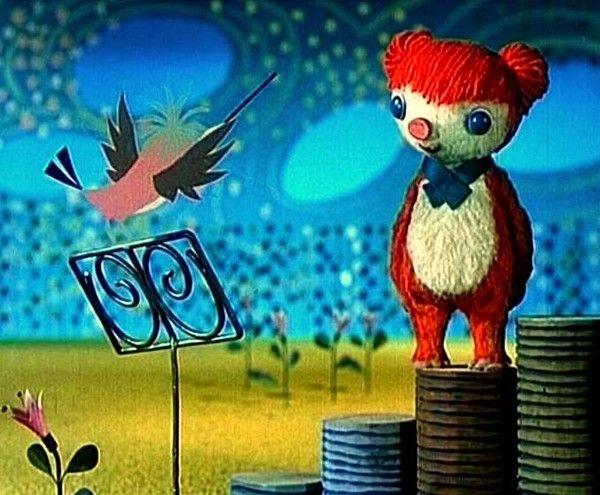 Dessin animé télé COLARGOL, l'ours qui chante en fa en sol, en do dièse en mi bémol en gilet et en faux col :-)