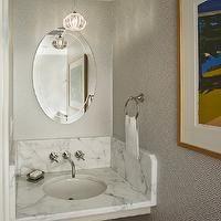 Rasmussen / Su Architects - bathrooms - greek key, greek key wallpaper, white and grey wallpaper, gray greek key wallpaper, white and gray g...
