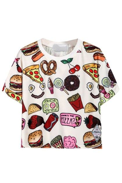 Fast Food Print T-Shirt in White #tee #tshirt #fastfood