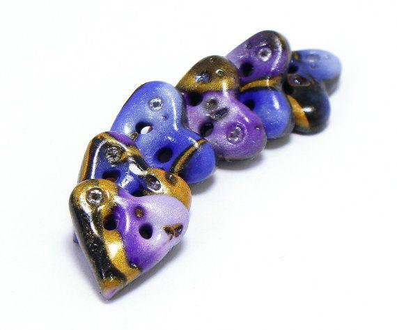 A forma di cuore pulsanti di polimero argilla oro blu nebulosa viola con set di cristalli swarovski di sei