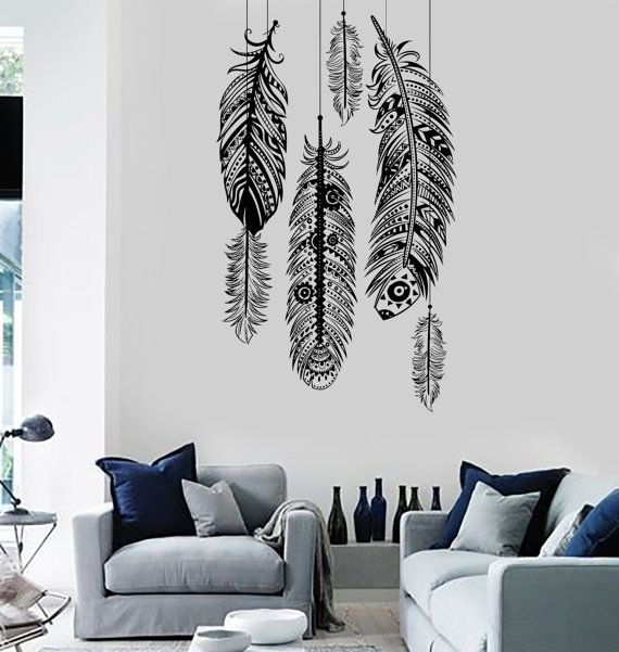 Wall Art Mural Feather Romantic Dream Catcher Bedroom by BoldArtsy