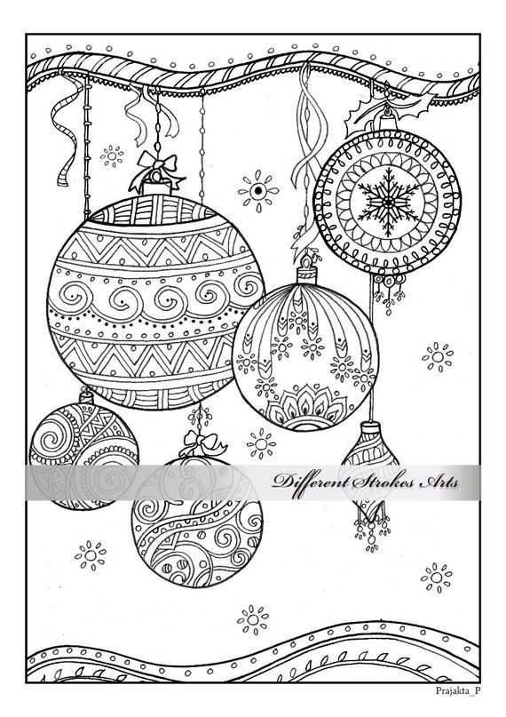 Christmas Ornaments Coloring Page Downloadable Xmas Coloring Book
