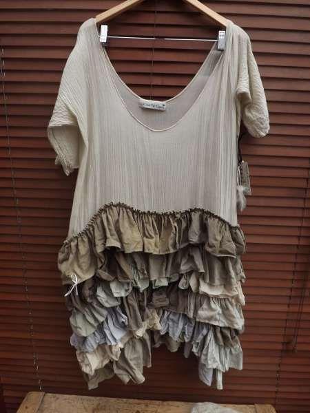 RitaNoTiara | Quirky Lagenlook Ruffle Tea Dress Marva RitaNoTiara Multi Colour