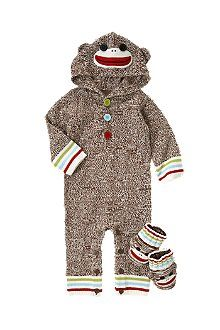 Little Sock Monkey soft hooded sweater one-piece for baby! Don't forget the matching booties! Crazy 8