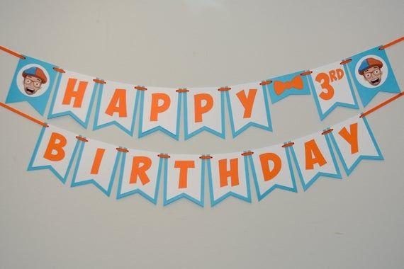Orange And Blue Happy Birthday Banner In 2020 Happy Birthday
