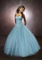 009 - Krásné světle modré plesové šaty - ŠATYSHOP.CZ