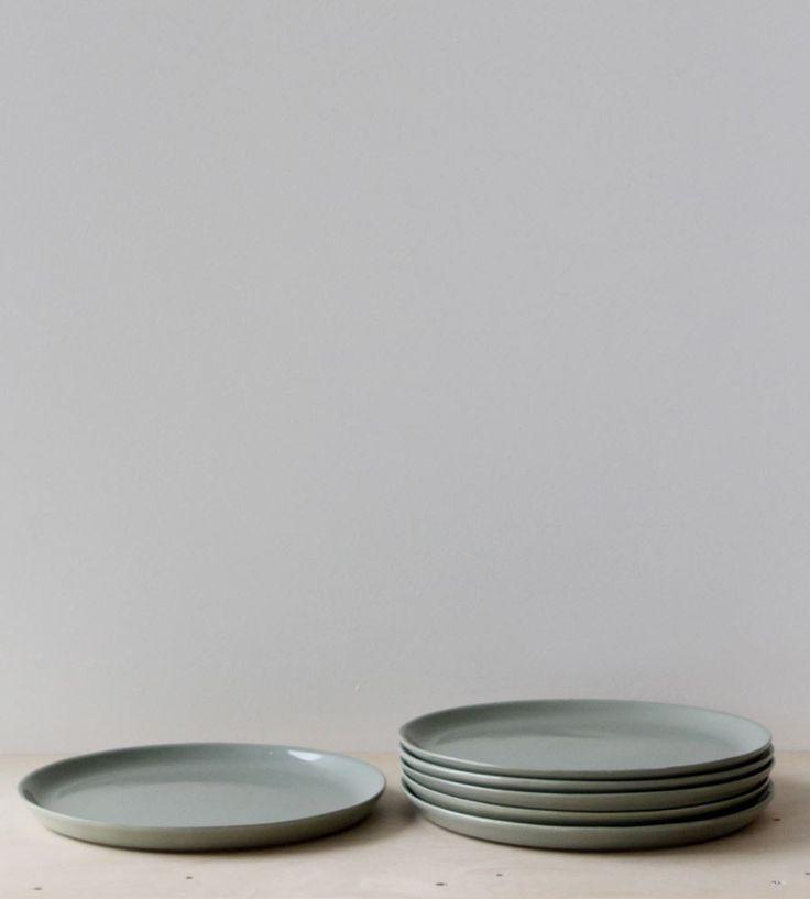 Father Rabbit | Ceramic Dinner Plate | Leaf Green