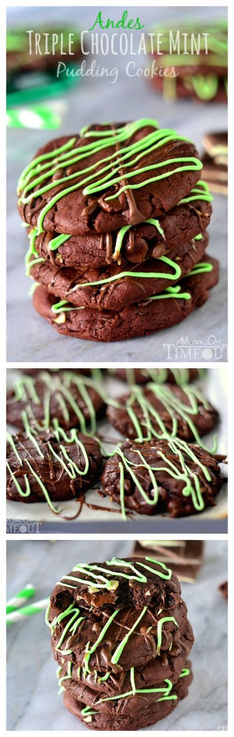 You're going to love the rich chocolate and refreshing mint flavors in these Andes Triple Chocolate Mint Pudding Cookies!   http://MomOnTimeout.com