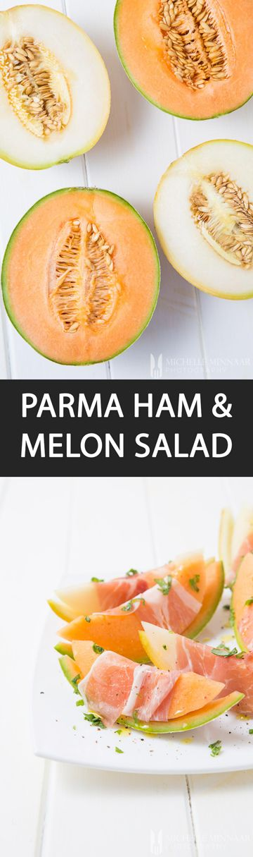 Parma Ham & Melon Salad {NEW RECIPE} Melon salad with Parma ham slices couldn't be any easier to prepare. Finish off with a drizzle of olive oil and freshly ground salt and pepper. Perfect!