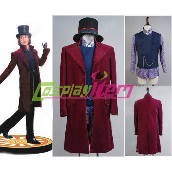 Charlie and the Chocolate Factory Cosplay Willy Wonka Johnny Depp Costume Adult…