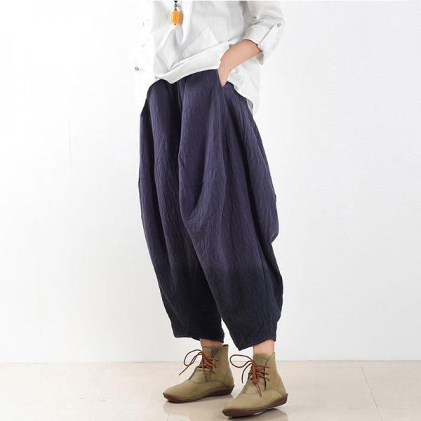 New Arrival Loose Cotton Linen Pants Jacquard Harem Trousers    #blue #harem #pants #trousers #woman #linen #jacquard