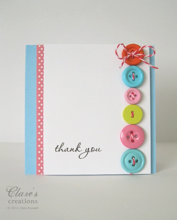 Clare's creations Cheery button card published in the January issue of Cardmaking & Papercraft Magazine (UK).