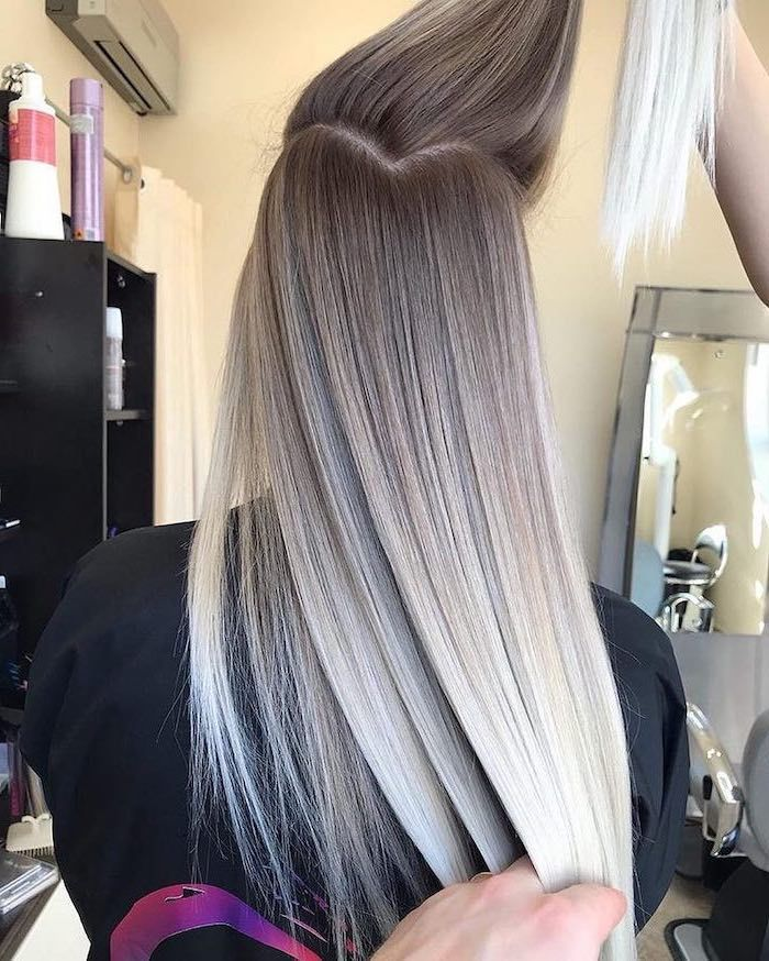 Ash Grey To Platinum Blonde Long Straight Hair Difference Between Balayage And Ombre In 2020 Ombre Hair Blonde Ombre Hair Color Platinum Blonde Ombre