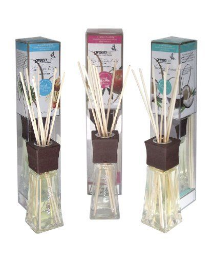 Greenair All Natural Reed Diffuser Set, Caribbean, Passion Fruit and Coconut by Greenair. $15.78. Phthalate free-all natural fragrance oils-no synthetics or chemicals. Set of three of 2.2 ounce. Perfect for any room-bathroom, kitchen, dorm room, pet room. All natural reed are diffusers by Greenair. Not made with toxins. Made with natural essential oils used in aromatherapy. Fragrances originate from London. Our products have an elegant glass bottle, rich wood ...