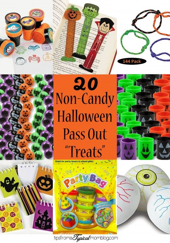 20 Ideas for Non-Candy Halloween Pass Out Treats. Pass out these favors rather than candy this Halloween. These are great ideas, and cheap too! #Halloween #CandyAlternative