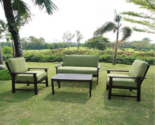 Amazon.com: Outdoor Patio Furniture Sofa Chat Table Set Teak Wood Finish Deep Seating Cushions: Patio, Lawn & Garden