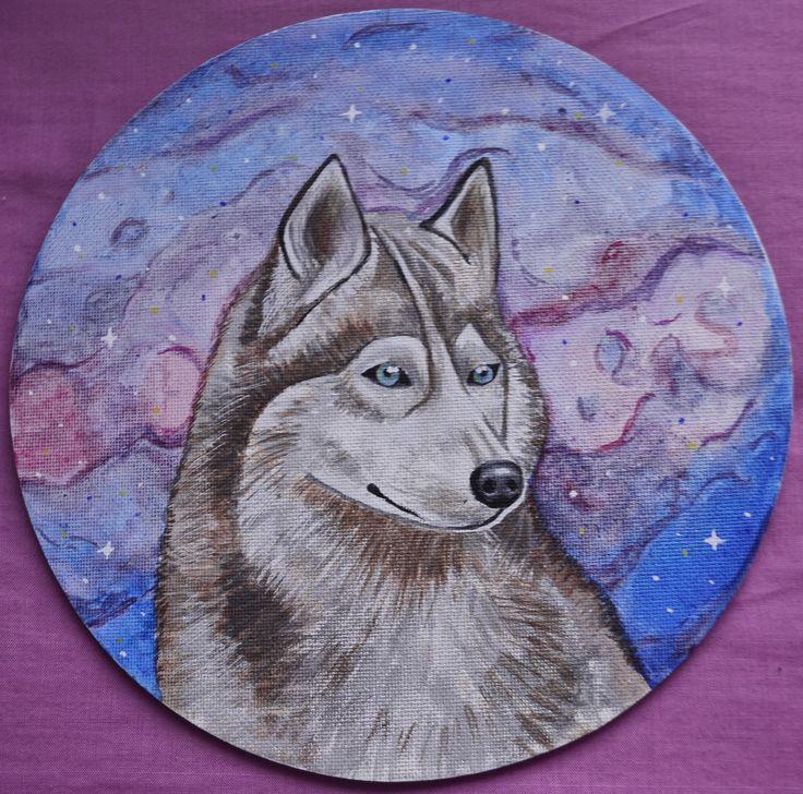 Lobo Espacial, acrílico y acuarela sobre lienzo por Jessica Millan G.