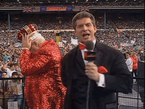 "Vince is concerned Bobby Heenan has offended a nation with ""that ridiculous-looking crown."""