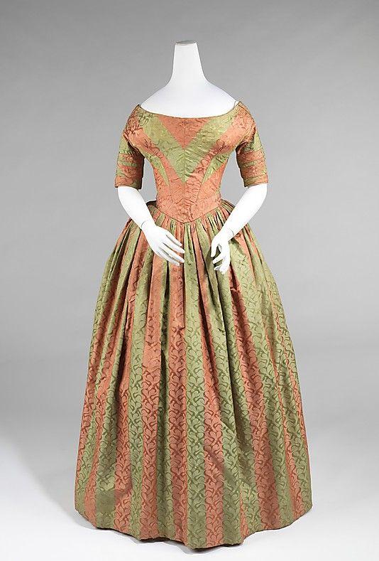 Evening dress, Date: ca. 1840, Culture: American, Medium: silk