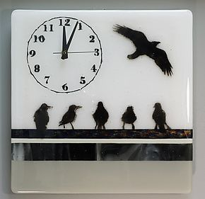 "Flock of Birds Timepiece by Alice Benvie Gebhart (Art Glass Clock) (11.5"" x 11.5"")"