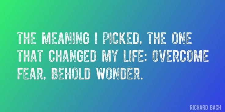 Quote by Richard Bach => The meaning I picked, the one that changed my life: Overcome fear, behold wonder.