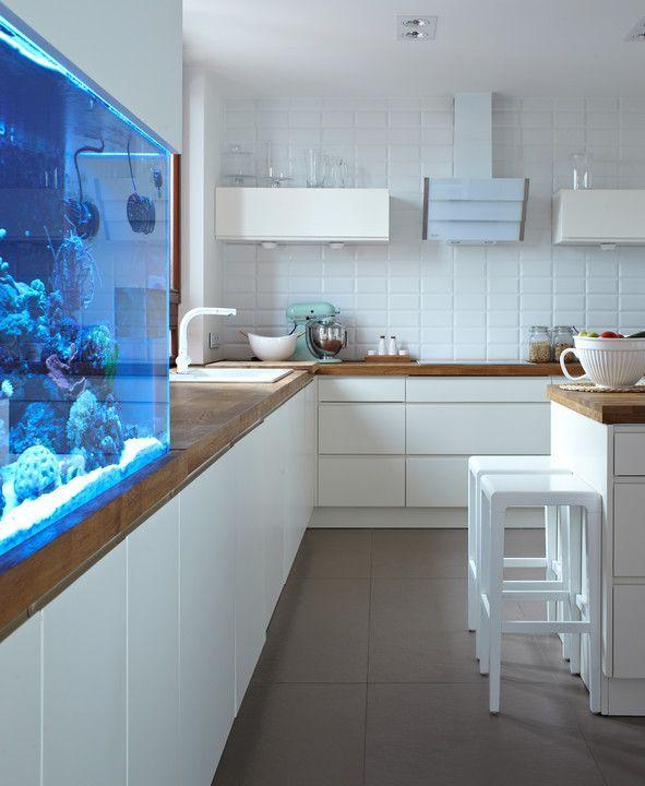 Zacznijmy od wielkiej pasji Kamila, czyli imponującego akwarium, bo to ono od razu przyciąga uwagę. Wśród tzw. żywych skał (wierzchniej warstwy prawdziwej rafy koralowej) pływają ryby tropikalne: błazenki, pokolec królewski iskrzydlice; mieszka tu też kilka krewetek. Wzbiorniku jest zainstalowany system oświetleniowy, który imituje wschody izachody słońca.