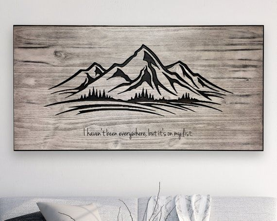 Mountain Wall Art Wood Carved Wall Art Mountain Decor Mountain Wall Art Mountain Wood Art Carved Wall Art