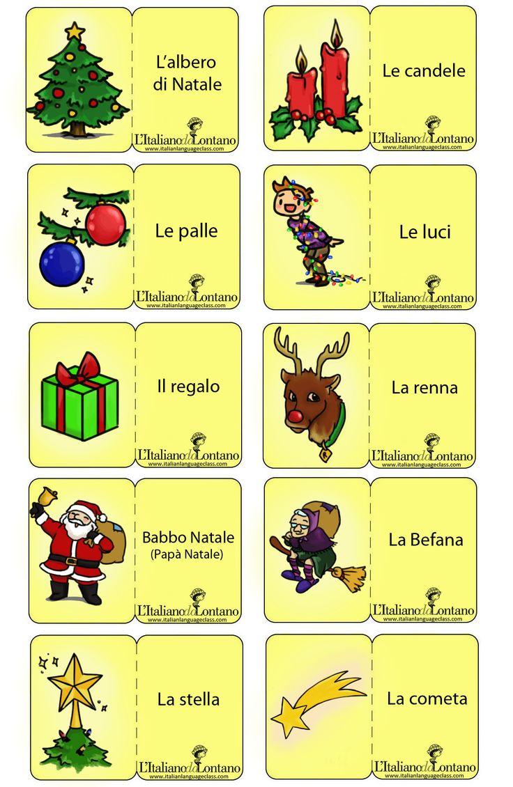 Le nostre flashcard natalizie, con tutte le parole che bisogna sapere per preparare un albero di Natale in italiano. C'è anche la befan