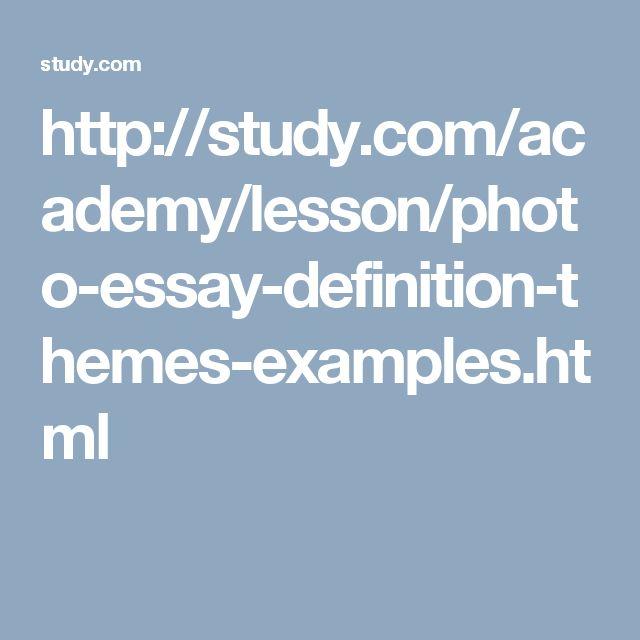 Photo essay lesson