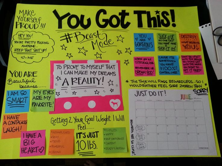 """My motivational board! Includes: """"I am beautiful because""""....""""Once I reach my goal I will feel..."""", quotes to keep me inspired, and a calender to keep track of my workouts! 6 workouts in a row get me a pampering reward :) I GOT THIS!"""