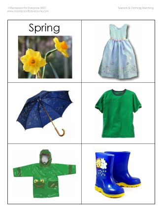 Here's a nice set of cards for matching clothes to the season. Can also be used for sorting and weather activities.