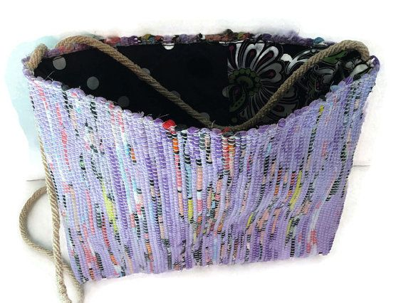 Rag rug woven, cross-body purse, recycled bag, hippie bag, woven handbag, summer purse, bohemian bag, everyday purse, repurposed handbag
