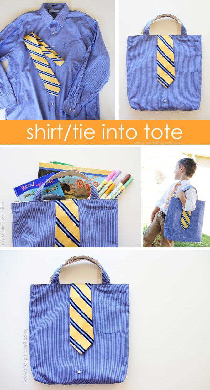 Original bolso de mano reciclando una camisa