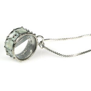 Harmony Jewelry Snare Drum Necklace in Silver and White