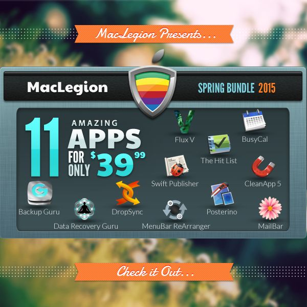 http://maclegion.com The 2015 Spring Bundle has arrived! We're offering you 11 top selling Mac Apps valued at over $400 for a one-time-only exclusive price of $39.99! That's nearly 90% off! You'd better hurry though, because this offer won't last long and once its gone, its gone.