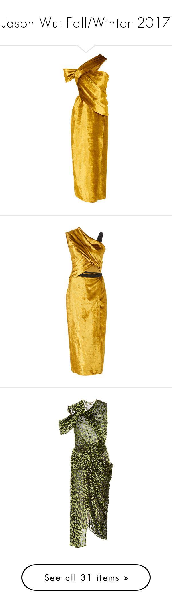 """Jason Wu: Fall/Winter 2017"" by livnd ❤ liked on Polyvore featuring JasonWu, fallwinter2017, livndfashion, livndjasonwu, dresses, jason wu, neutral, velvet dress, one sleeve cocktail dress and yellow cocktail dress"