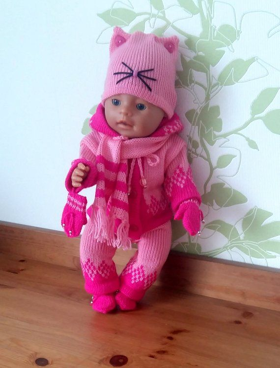 Winter Knitted Set For Baby Born The Colors Of Crimson And Pink